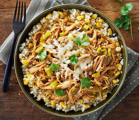 Green Chili Shredded Chicken & Cauliflower Rice Bowl