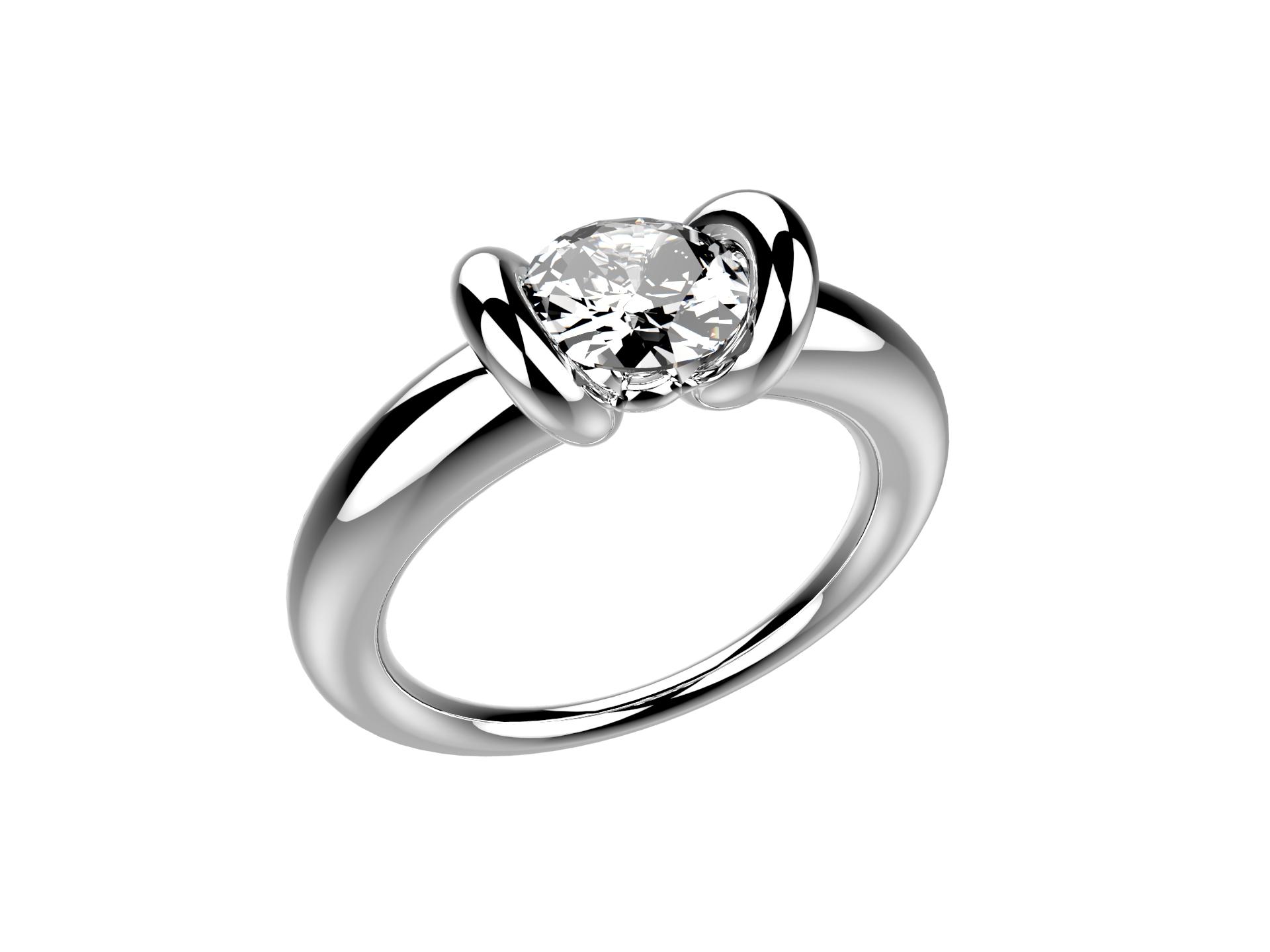 Solitaire or blanc diamant - 11250 €