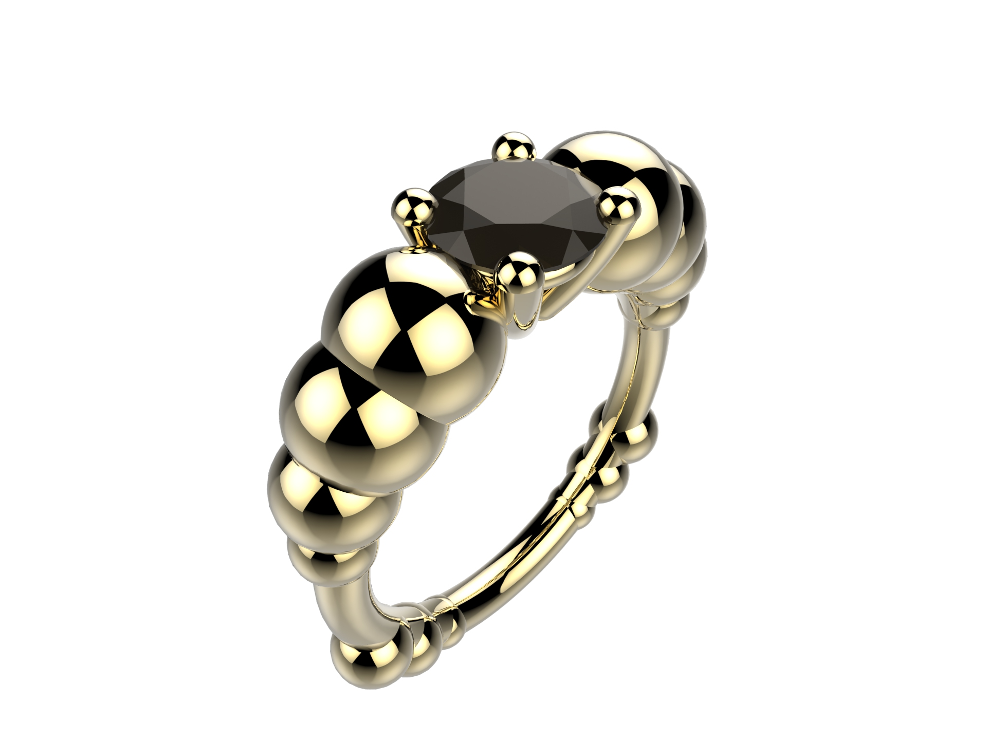 Bague or jaune diamant noir 2670 €