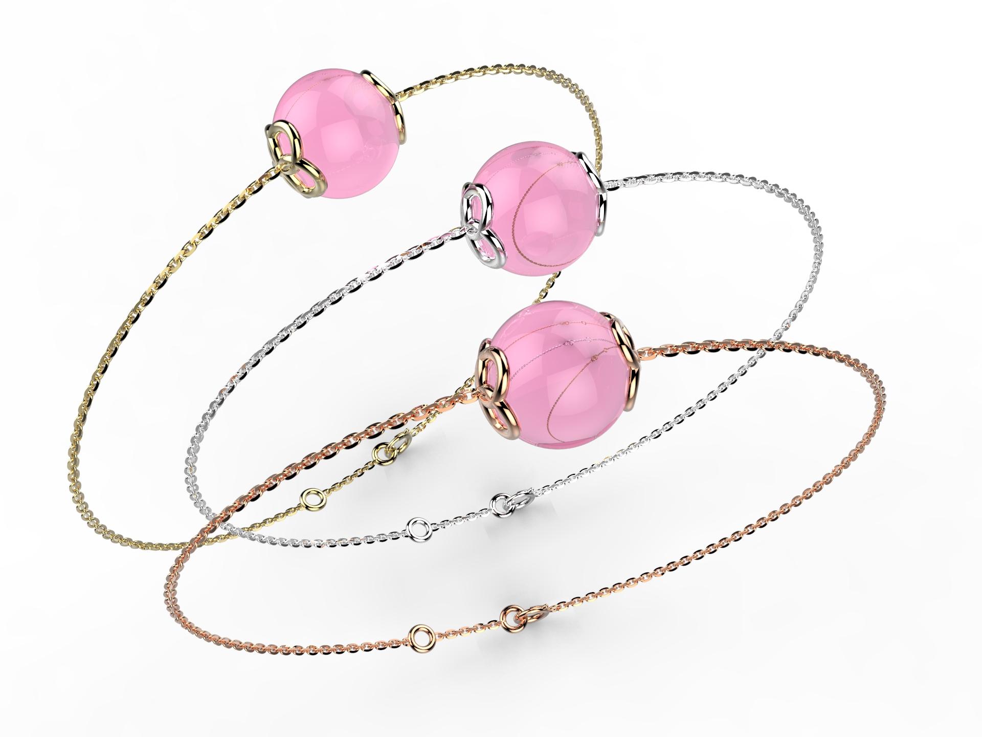 Bracelet or perle quartz rose 330 €