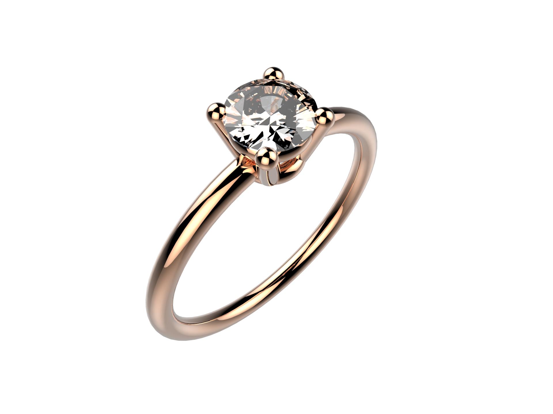 Solitaire or rose diamant - 3600 €