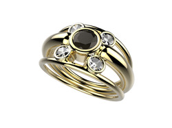 Bague or jaune diamant noir 3350 €