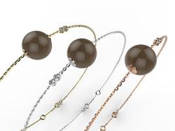 Bracelet or perle quartz fumé 360 €