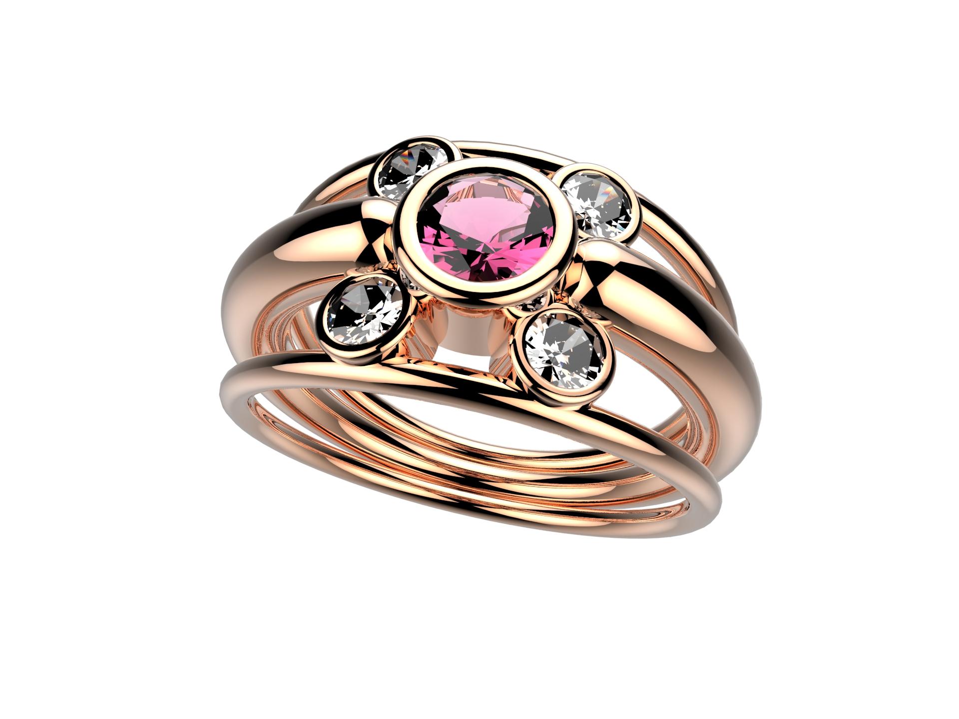Bague or rose tourmaline diam 2830 €