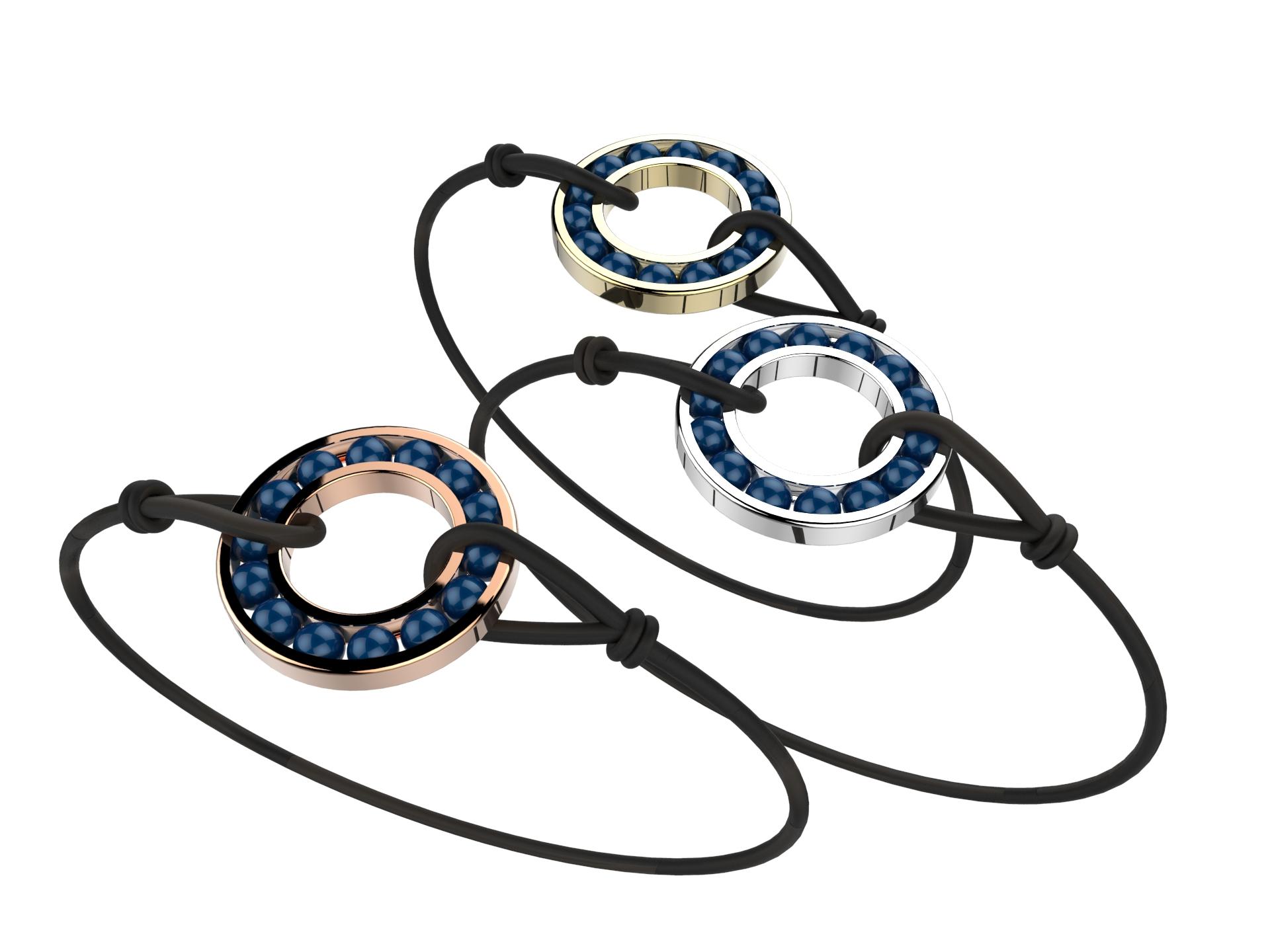 Bracelet or cordon agate bleu 490 €