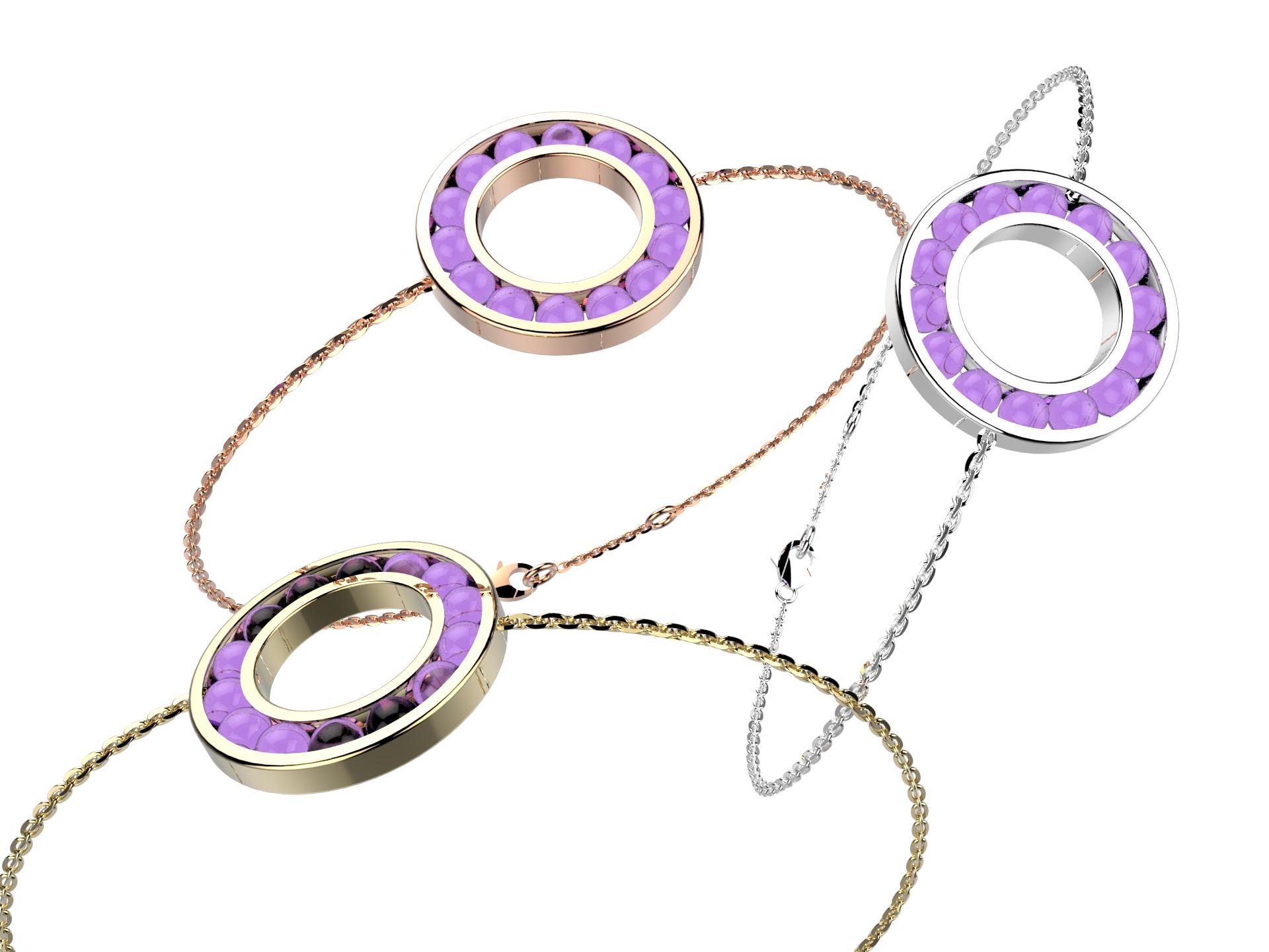Bracelet chaine or améthyste 720 €