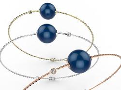 Bracelet or perle agate bleue 330 €