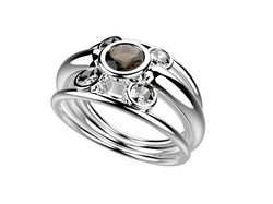 Bague or blanc quartz fumé 2480 €