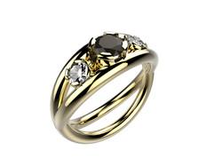 Bague or jaune diamant noir 3930 €