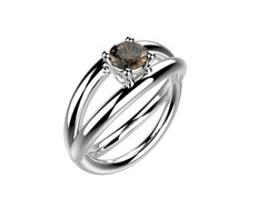 Bague or blanc quartz fumé 1490 €