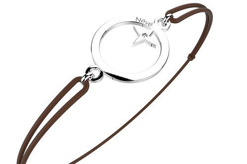 """Bracelet Névé """"Cercle étoilé"""" en Or avec Diamant et Cordon Chocolat"""