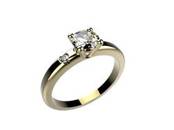 Solitaire or jaune diamant - 3430 €