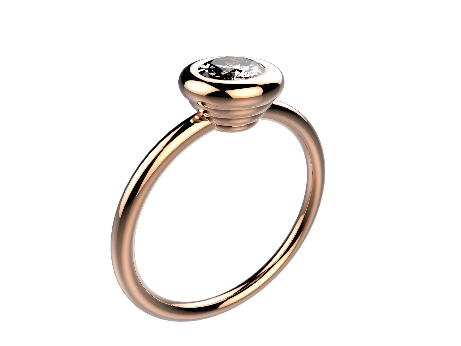 Solitaire or rose diamant - 3780 €