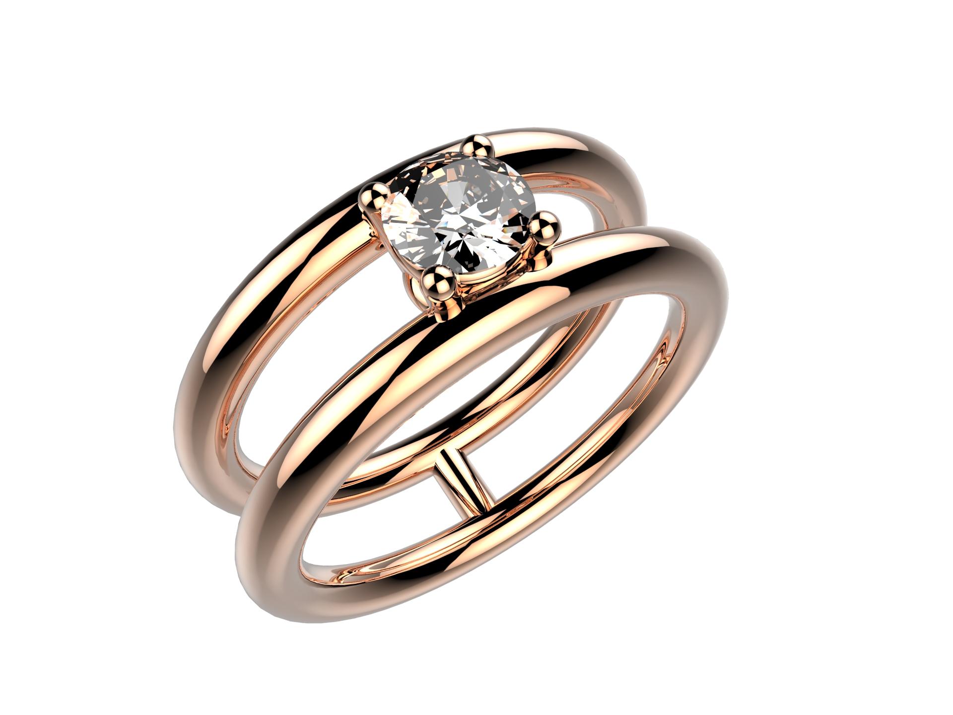 Solitaire or rose diamant - 4240 €