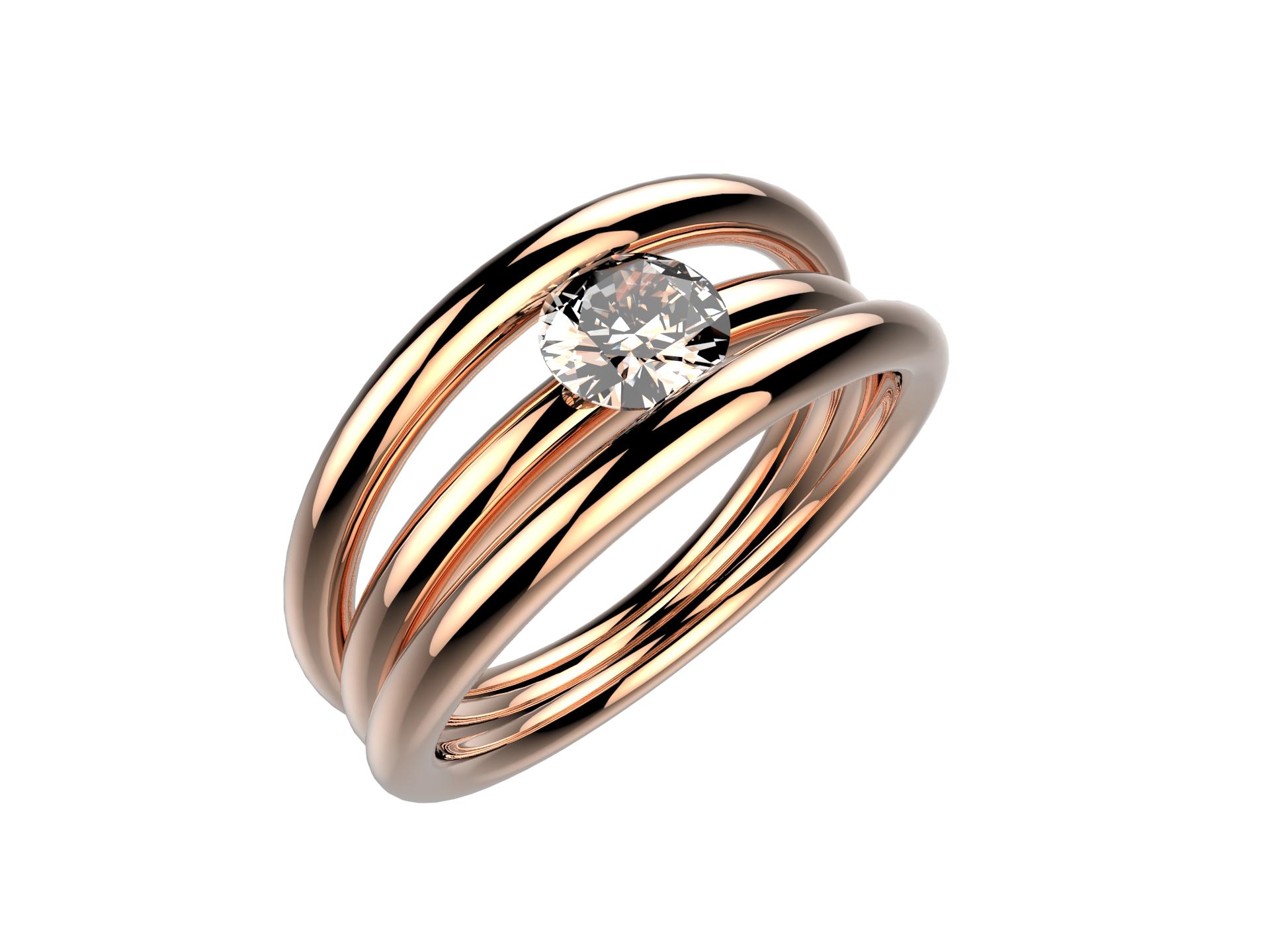 Solitaire or rose diamant - 3990 €