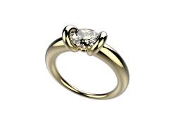 Solitaire or jaune diamant - 11250 €