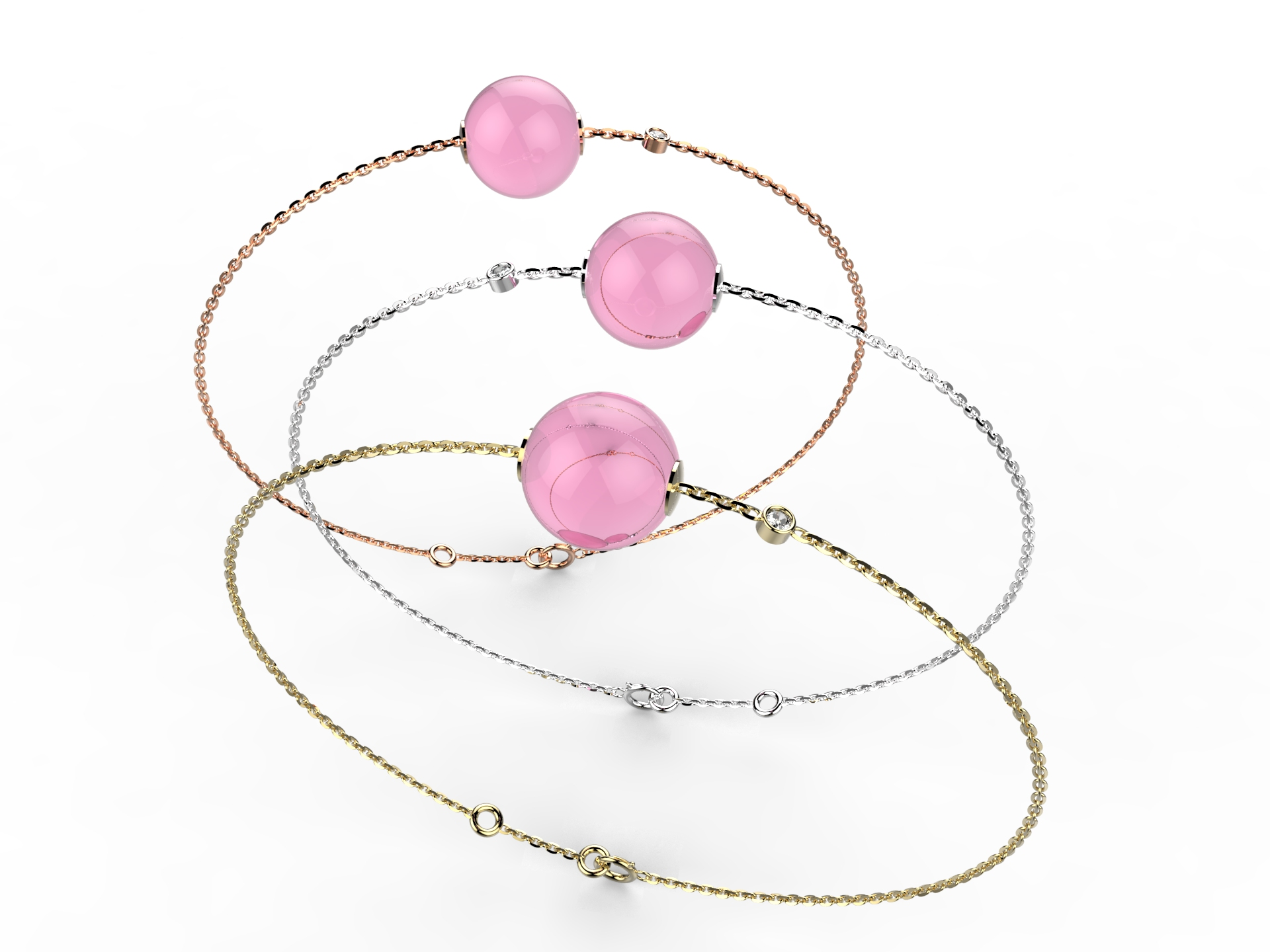 Bracelet or perle quartz rose 330 €