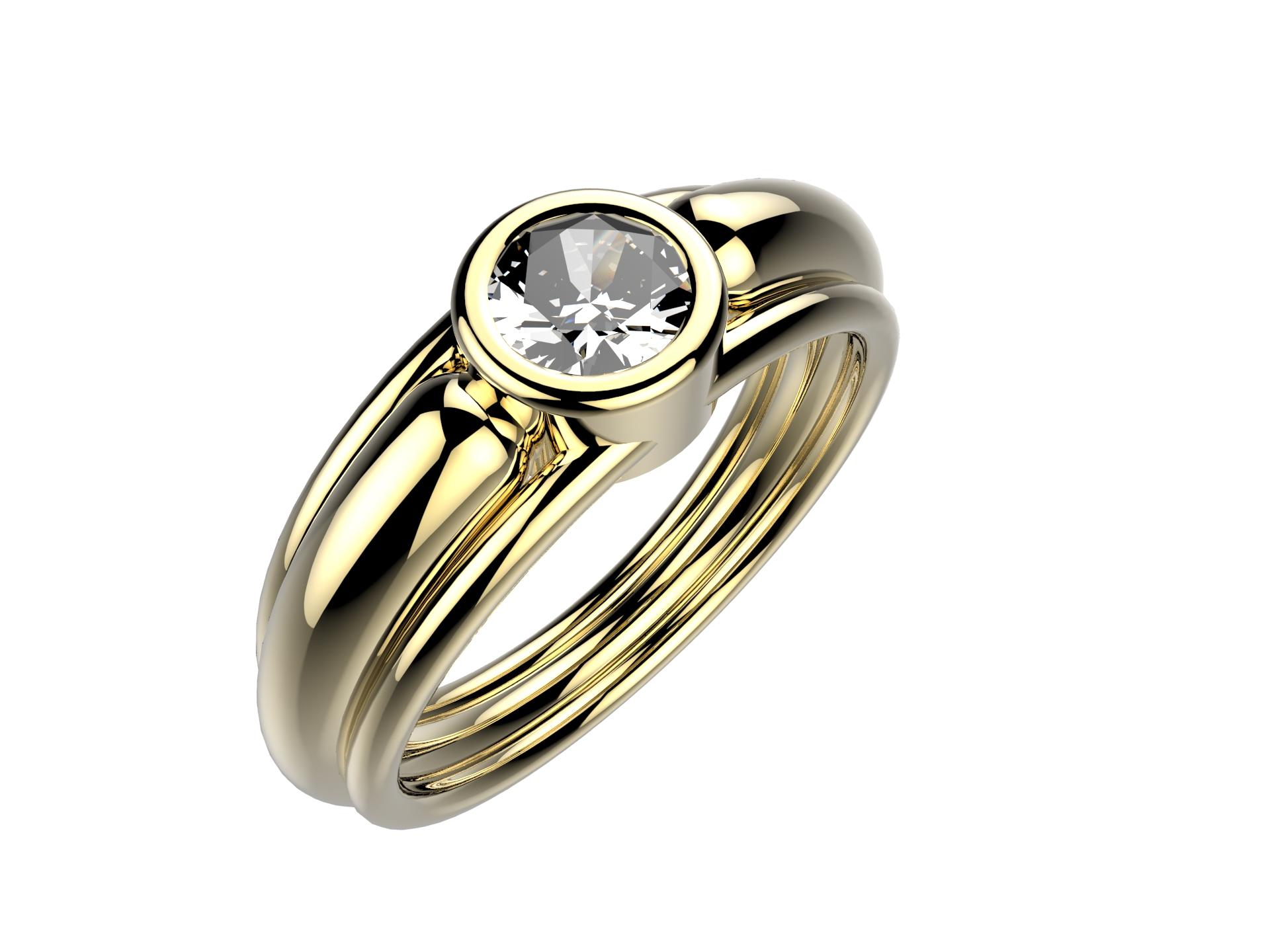 Solitaire or jaune diamant - 4100 €