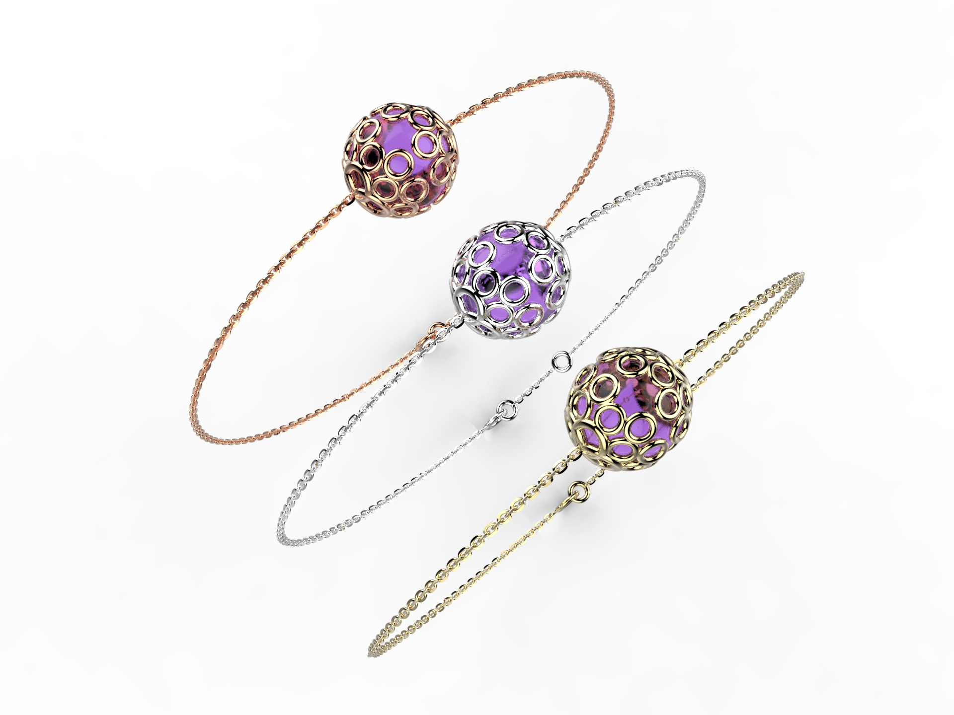 Bracelet or perle améthyste 350 €