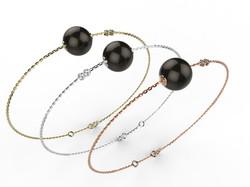 Bracelet or perle agate noire 360 €