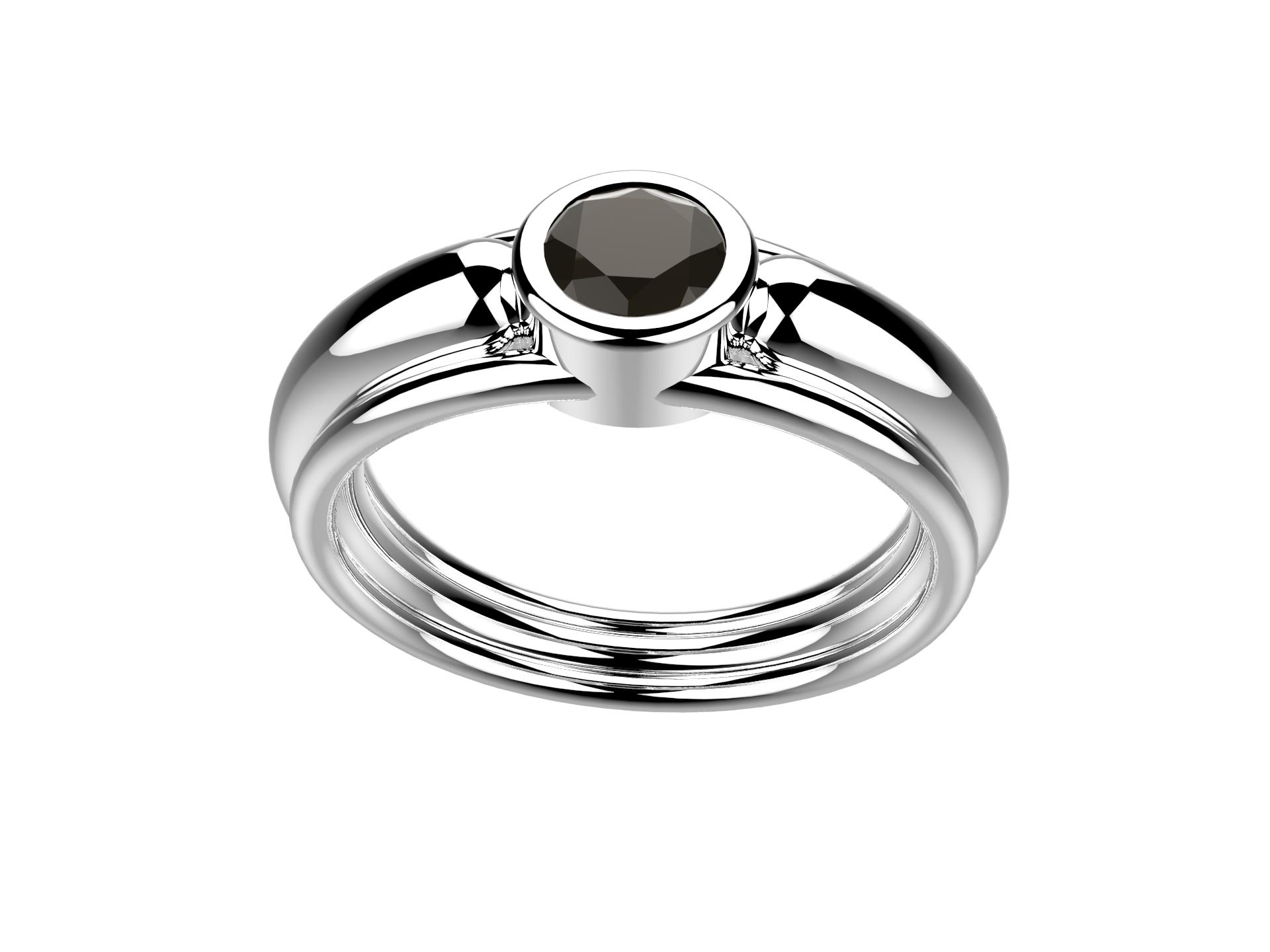 Bague or blanc diamant noir 2160 €