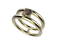 Bague or jaune quartz fumé 1560 €