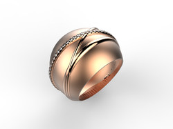 Bague boule or rose diam - 3280 €