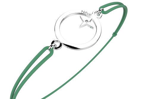 """Bracelet Névé """"Cercle étoilé"""" en Or avec Diamant et Cordon vert"""