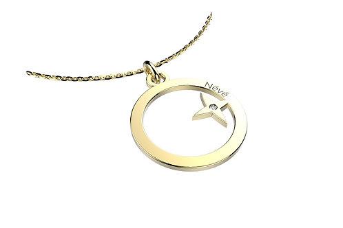 """Pendentif Névé """"Cercle étoilé"""" en Or avec Diamant et Chaîne en Or"""