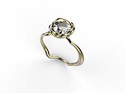 Solitaire or jaune diamant - 8700 €