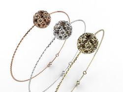 Bracelet or perle quartz fumé 350 €
