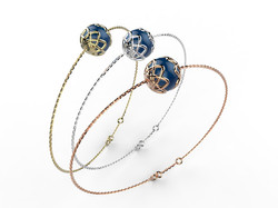 Bracelet or perle agate bleue 340 €