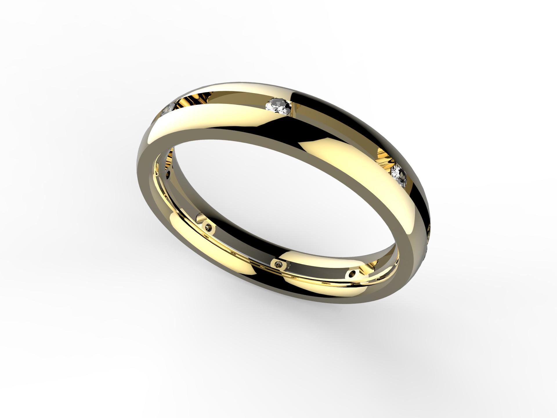 Alliance or jaune et diamants 870 €