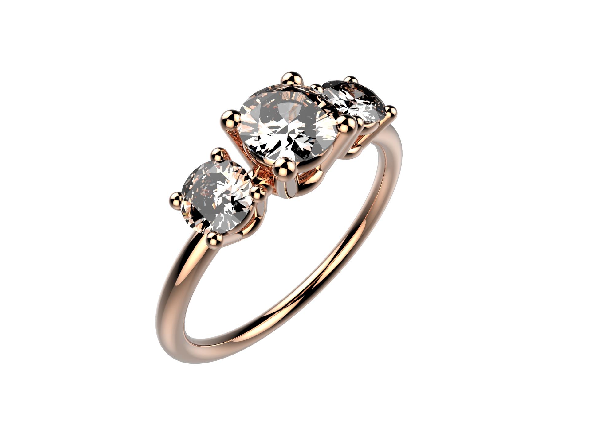 Solitaire or rose diamant - 4780 €