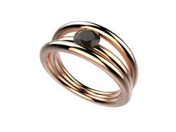 Bague or rose diamant noir 2500 €