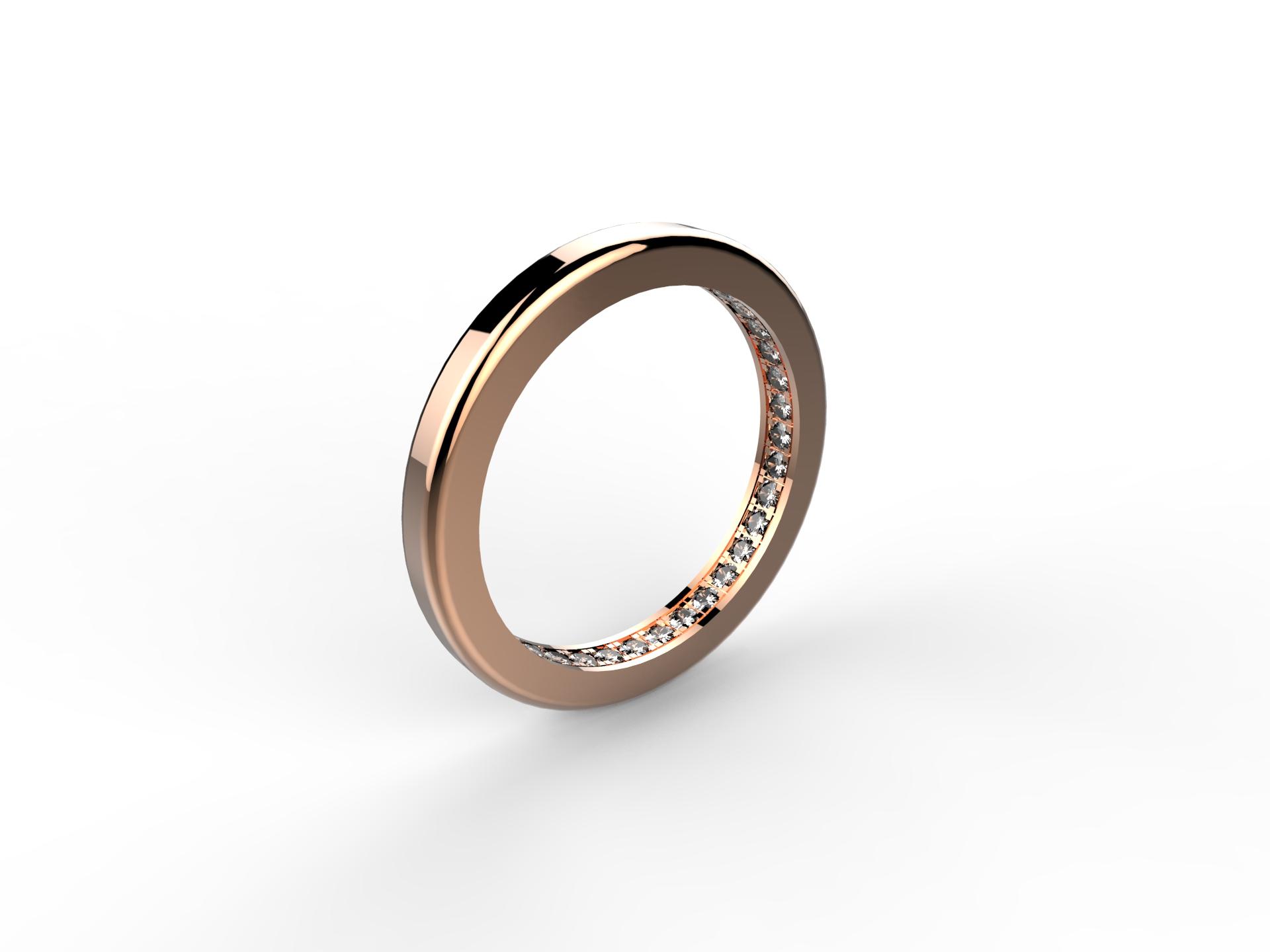 Alliance or rose diamants 1450 €