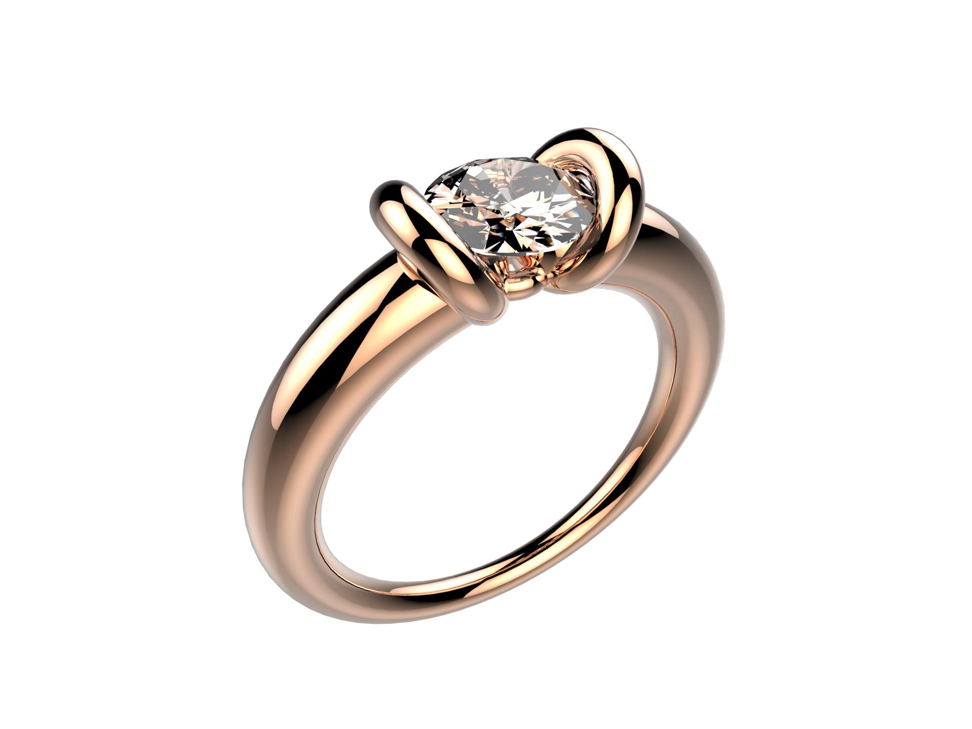 Solitaire or rose diamant - 11250 €