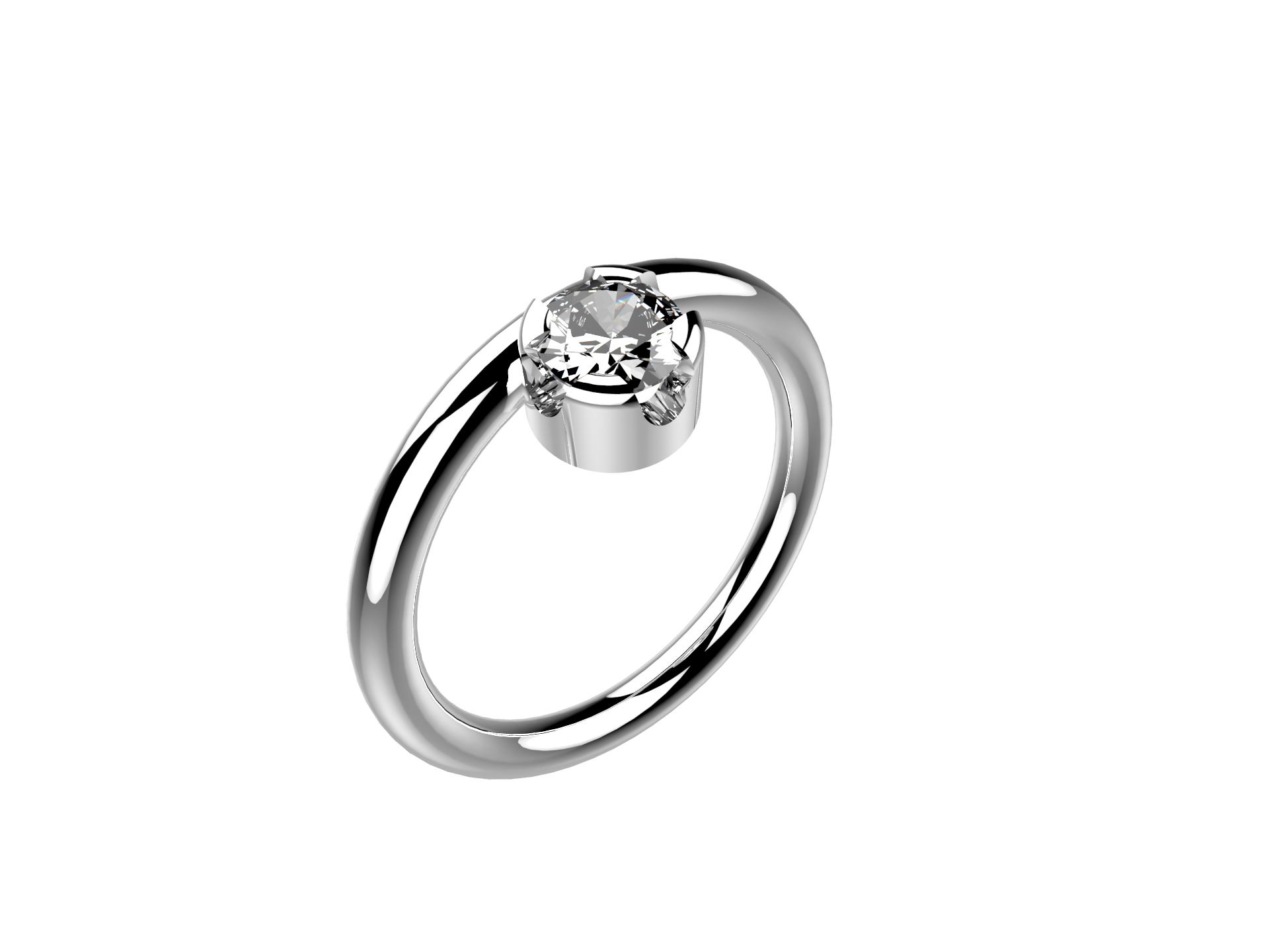 Solitaire or blanc diamant - 3860 €