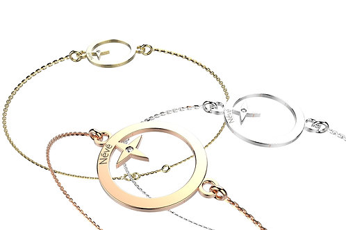 """Bracelet Névé """"Cercle étoilé"""" en Or avec Diamant et Chaîne en Or"""