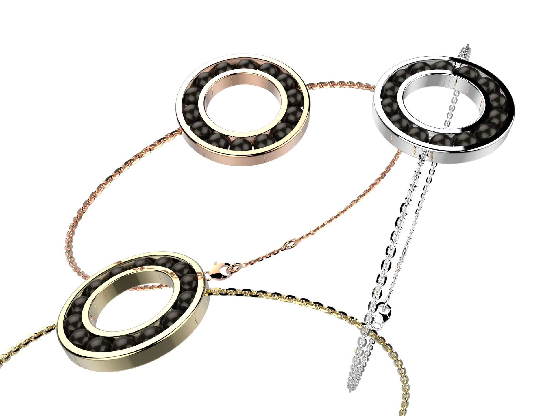 Bracelet chaine or agate noir 720 €