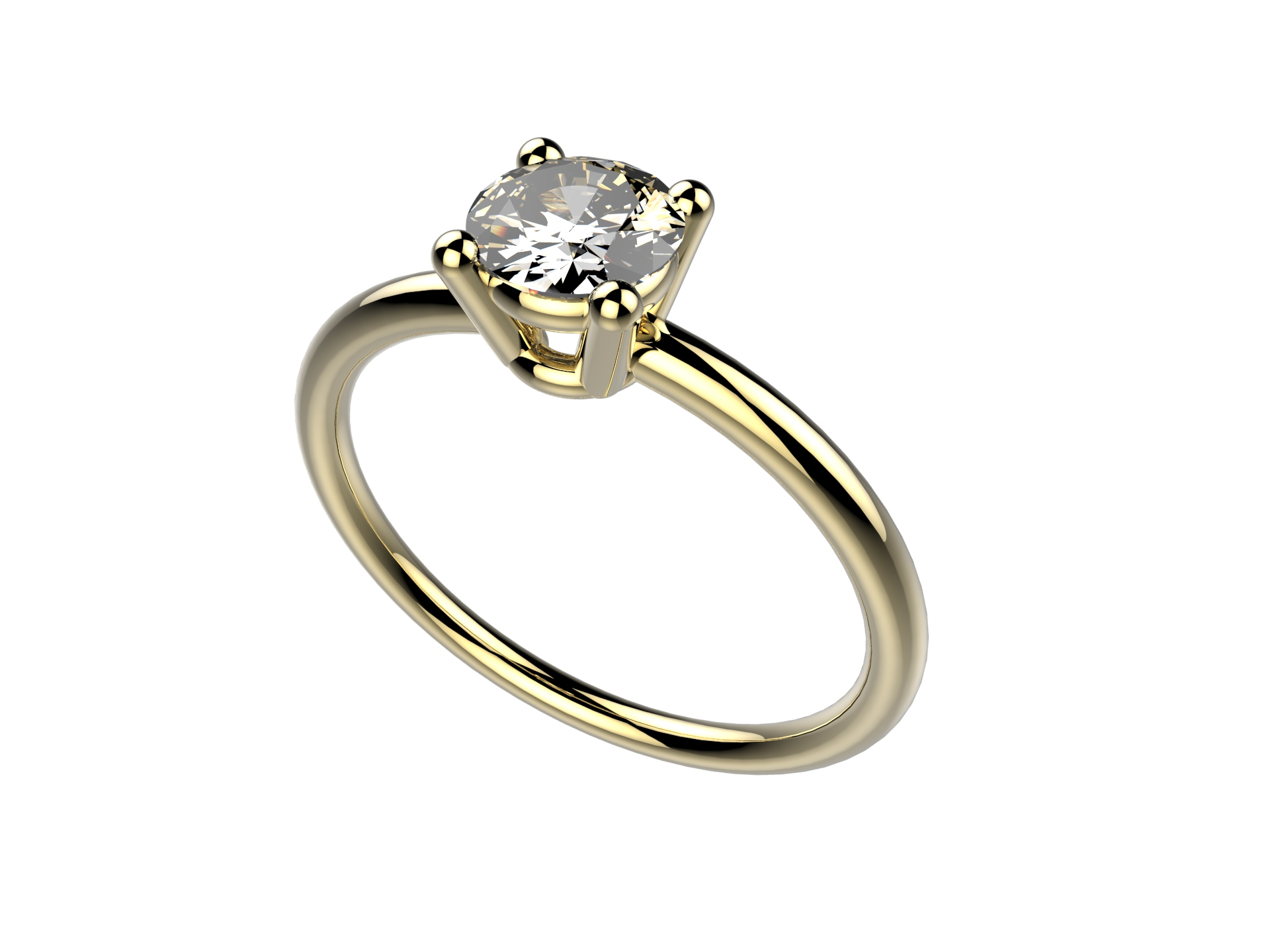 Solitaire or jaune diamant - 3600 €