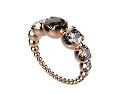 Bague or rose diamant noir 7350 €