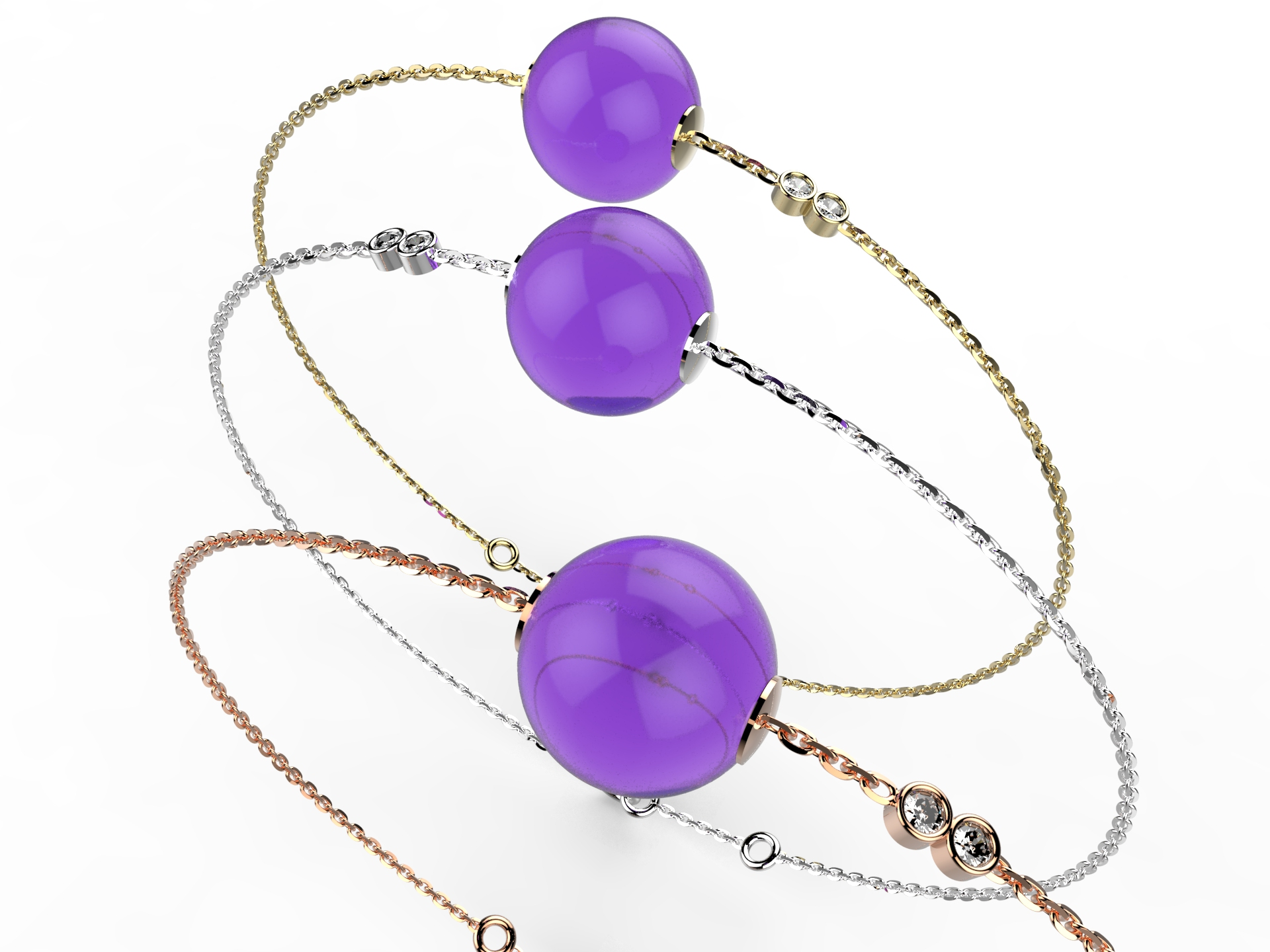 Bracelet or perle améthyste 360 €