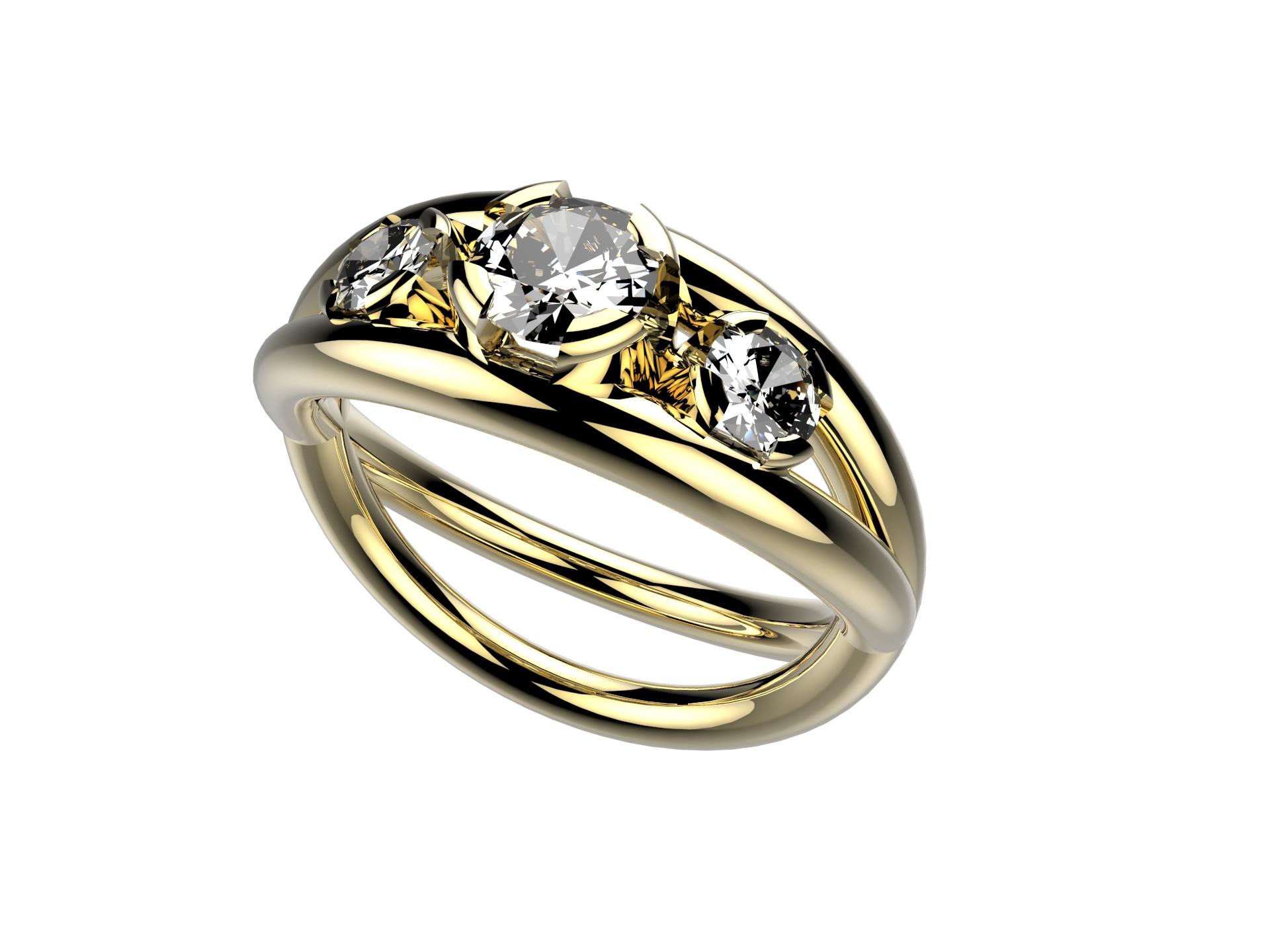 Solitaire or jaune diamants - 5170 €