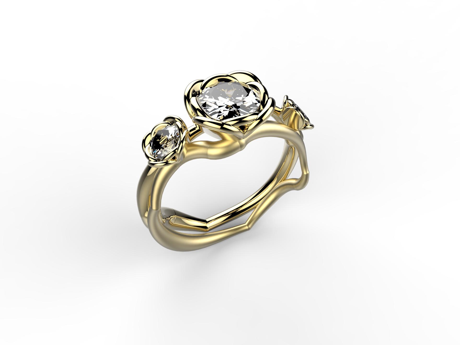 Solitaire or jaune diamant - 9840 €