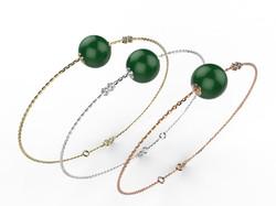 Bracelet or perle agate verte 360 €
