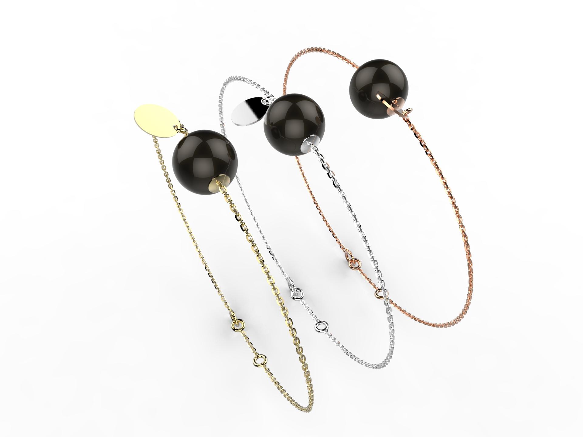 Bracelet or perle agate noire 305 €