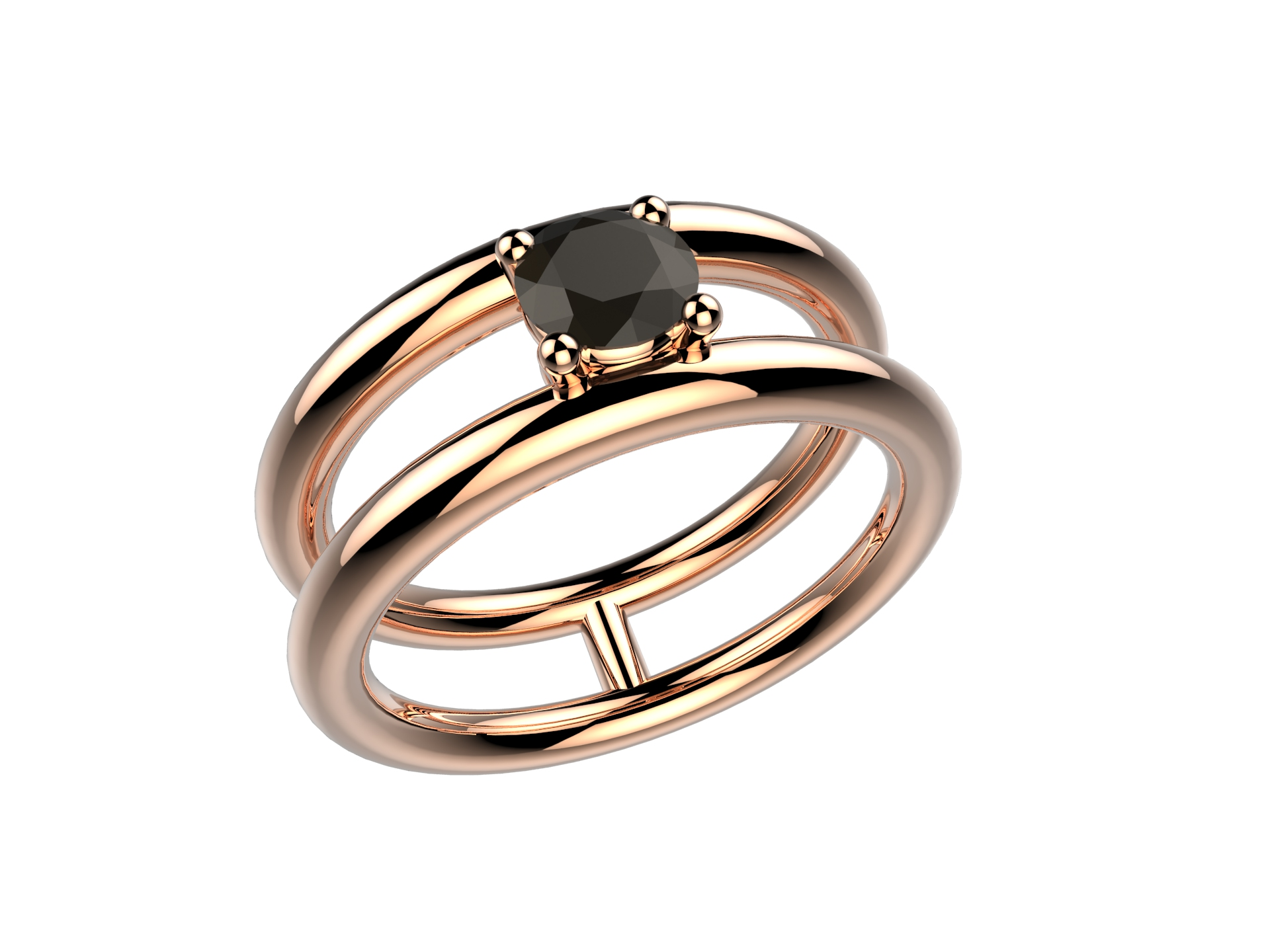 Bague or rose diamant noir 2430 €