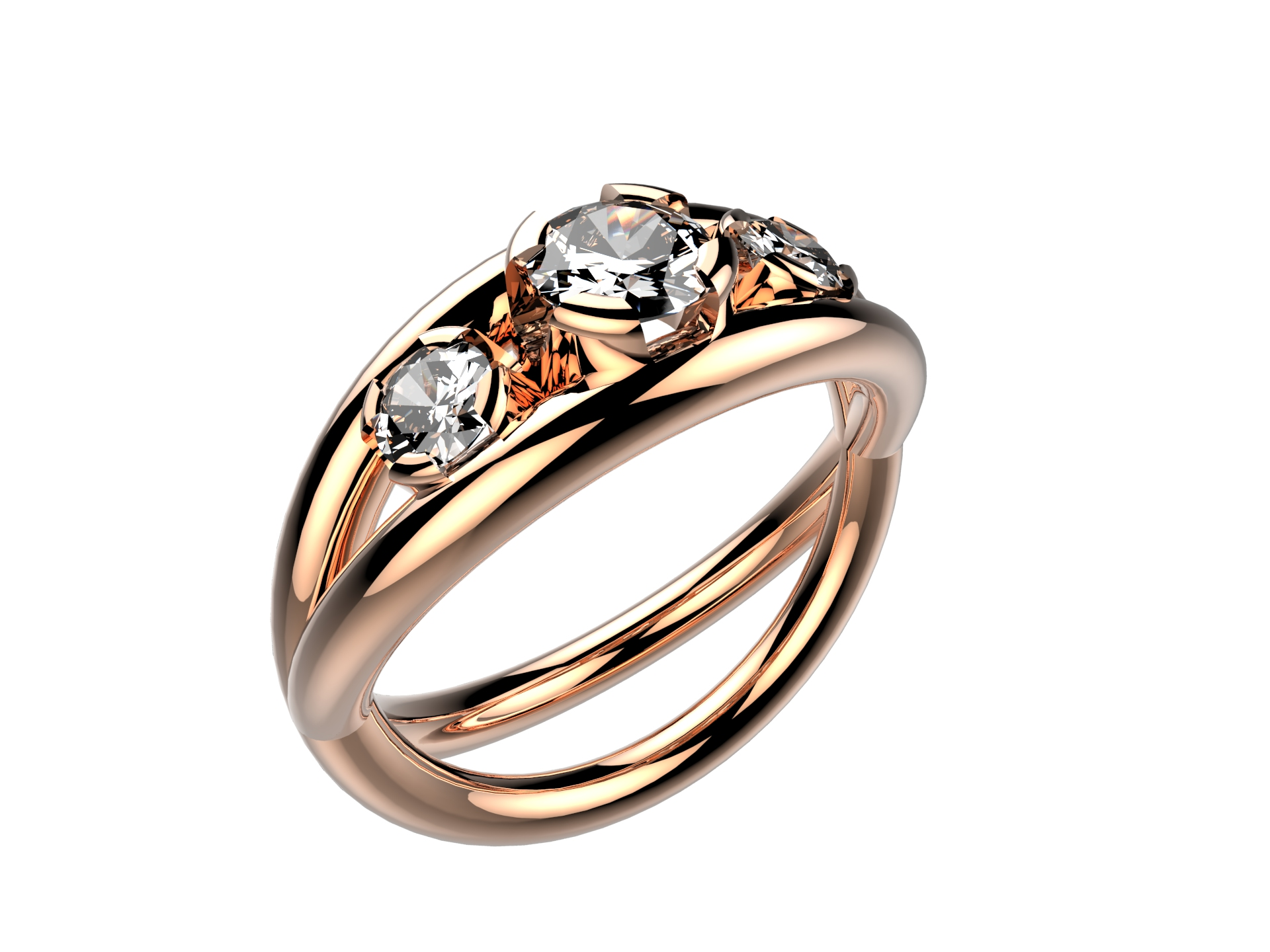Solitaire or rose diamants - 5170 €
