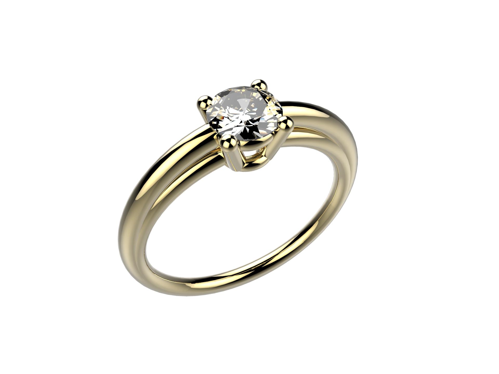 Solitaire or jaune diamant - 3650 €